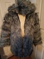 Faux Fur Wirh Faus Leather Insert Hoodie Parka. Coat L