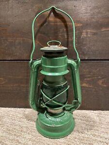 "Vtg Winged Wheel No. 350 Green Mini Oil Kerosene Lantern w/Green Globe - 7 1/2"""