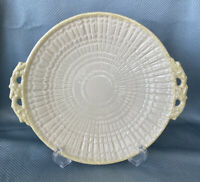 Vintage Retired Irish Belleek Yellow Limpet Handled Cake Plate Green Mark