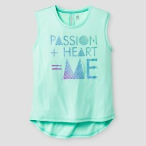 c9 by Champion Girls Graphic Mint Performance Muscle Tank PASSION HEART size XS