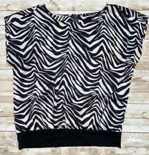 Ann Taylor Black and White Short Sleeve Shirt MP