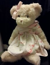"Russ Berrie Teddy Bear Plush Fiona 20"" Off White Pink Dress"