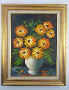 Bright Floral Still Life Oil Painting on-Canvas  - Signed Rovira -Orange Flowers