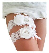White Ivory Wedding Garter Set w/ Pearl Rhinestone Bow Chiffon Lace, Rustic Bead