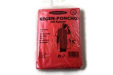 2 x Notfall Poncho mit Kapuze Rot – Regenponcho Regenmantel Regenjacke