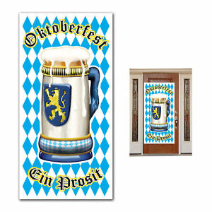 OKTOBERFEST DOOR COVER PARTY DECORATION GERMAN BEER STEIN BAVARIAN POSTER BANNER