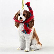 Cavalier King Charles Dog Christmas Ornament Scarf Figurine Brown