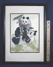 PANDA SILK PICTURE Wood Frame Embroidery Thread Animals Asian About 12 by 17