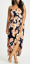 CITY CHIC Dress Plus Size 20 24 Black Floral Strapless or Strapped Boho Maxi