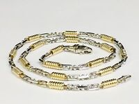 """14k Two Tone Gold Mens Handmade Chain Necklace 24"""" 5 MM. 48 Grams"""