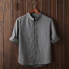 Vintage Mens Plain Hemp Collarless Shirt Full Sleeved Tops Chinese Style Blouse Gray CH XL M