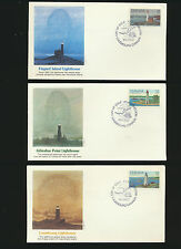 Canada Lightouses Lot of 3 Different Fleetwood Cachet Fdcs 1984 unadd Lot1024