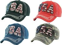 America USA Flag Patriotic Vintage Distressed Hat Baseball Cap Washed U.S.A. NEW