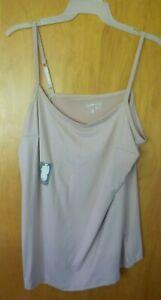 New Womens 2X 20W/22W Beige Long Tunic Length Cami Tank Top Super Soft