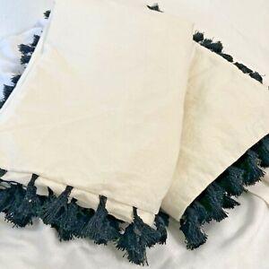 "Urban Outfitters Cream Black Tasseled Pillow Shams Set of 2 Shams 21""x 28"""