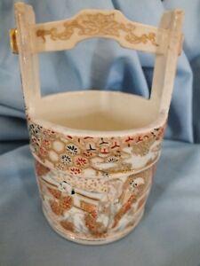"Japanese Satsuma Meiji Bucket Vase  5"""