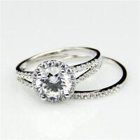 Solitaire 8 MM Big Round Moissanite Engagement Bridal Ring Set 14k White Gold GP