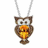 Crystaluxe Owl Pendant with Brown Swarovski Crystals in Sterling Silver