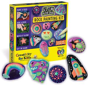 Kids Glow In The Dark Rock Painting Kit Water Resistant Paint Arts Crafts Set
