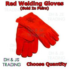 Red Welding Gloves - Leather Welders Gauntlet Lined High Temperature Fire Heat