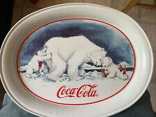 Collectible 1996 Coca Cola Polar Bear Push Tray (8x11�)