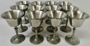 """vintage Set of (12) REVERE Pewter Chalices Goblets 5"""""""
