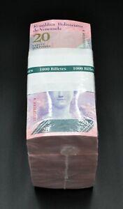 2007-2014 Venezuela $20 Bolivares Unc. New Brick 1000 Pcs Nice Color Rare SK4253