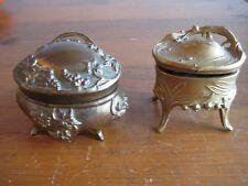 2 ANTIQUE GILT METAL ART NOUVEAU REPOUSSE JEWELRY CASKET BOXES