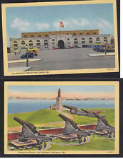 Vintage Postcard Lot MD - BALTIMORE 5th Regiment Armory & Fort McHenry Cannon