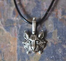 Antique Silver Plt Lynx Pendant Necklace, Ladies Mens Gift Viking Norse Slavic