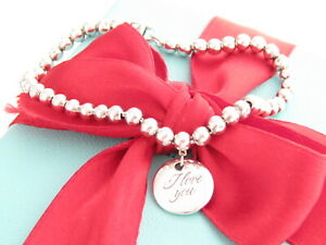 "Tiffany & Co Silver I Love You Bead Bracelet 7"""