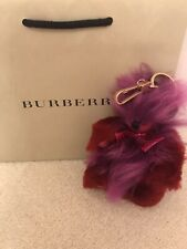 100% Authentic Burberry Fluffy Fur Teddy Bear Bag Charm, Keyring Leather BN Pink