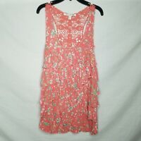 LC Lauren Conrad Tank Top Floral Tiered Ruffle Crochet Back Size L R425P
