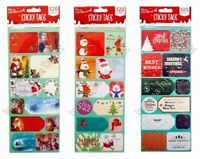 120 CHRISTMAS GIFT TAGS STICKERS ADHESIVE LABELS CARTOONS GREETINGS TRADITIONAL