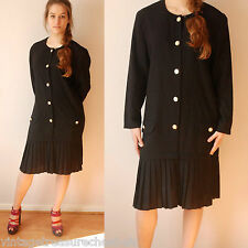 vtg 70's 80's  dropped waist pleated skirt dress M L