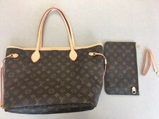 Authentic Louis Vuitton Monogram Neverfull MM Tote Bag with Clutch