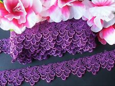 Purple color embroidered  lace trim/ribbon - price for 1 yard
