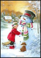 Sweet Hug with Snowman - DIY Chart Counted Cross Stitch Patterns Needlework DMC