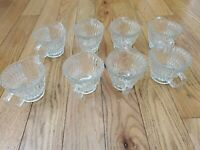 Vintage Lot of 8 Cut Leaded Crystal Glass Creamer Handled Cup 3 In Tall 8 FL OZ