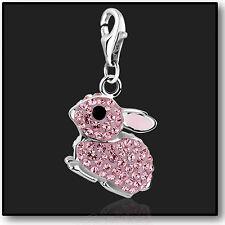 925 Sterling Silver Pink Rabbit clip on Bracelet Charm Swarovski Crystal 3D
