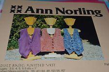"Ann Norling Knitting Pattern Adult Basic Knitted Vest 36-60"""