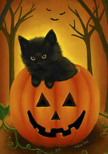 #81A HALLOWEEN BLACK CAT IN PUMPKIN FALL KITTEN  HOUSE FLAG 28X40 BANNER