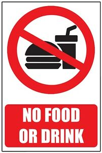 NO FOOD or DRINK WARNING SAFETY STICKER SIGN Vinyl for window glass wall door