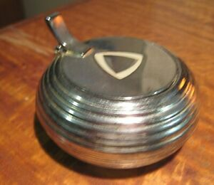 VINTAGE Unique Silver Inkwell Saucer Shape Heavy Very Cool  Must See
