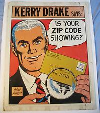 Pop Art Poster/KERRY DRAKE/Zip Code 1971/US Post Office/Comic Book/Mid Century