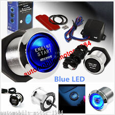 Blue Illumination Car Engine Start Push Button Switch Ignition Starter Touch Kit