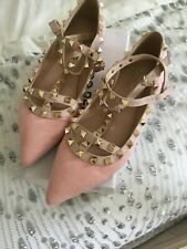 Pink suede studded flats 37 BN with box
