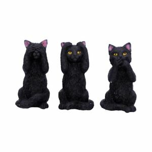 Nemesis Now Three Wise Felines Black Witches Cat Gothic Pagan Wiccan Gift 8.5cm