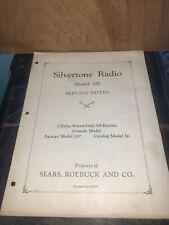 Silvertone Radio Model 100 -Service Notes,schematics- 1929 Original Copy!