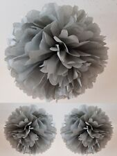 3 x silver/grey tissue paper pompoms hanging ceiling christmas party decorations